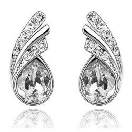 Plata y Cristal Aretes en Claro ** ** Regalos de Boda Dama de honor de vendedor de Reino Unido