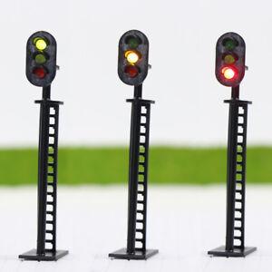 JTD04-5pcs-Model-Railway-3-Light-Block-Signals-G-Y-R-HO-Scale-6-5cm-12V-Led-New