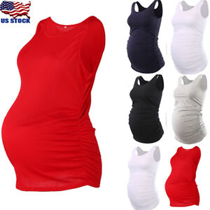 0682b2b8069c5 Mama Women Maternity Tank Top Pregnancy Tee Scoop Neck Sleeveless ...