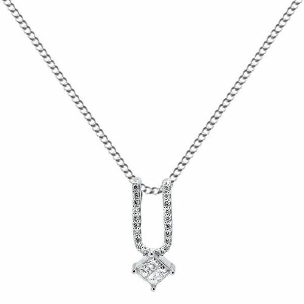 0.20ct F VS Round & Princess Cut Diamond Pendant with Chain in 18K White gold