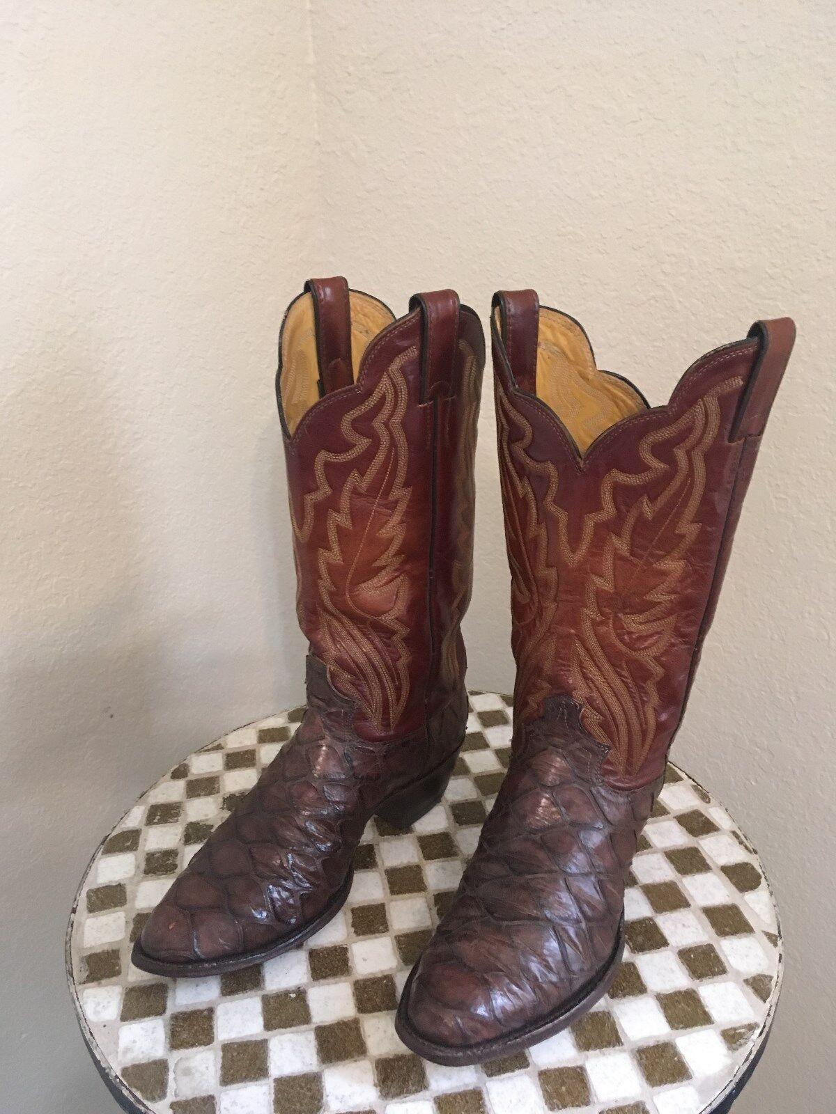 JUSTIN 2220 ROCKABILLY marron Classic Western Cowboy Ranch bottes 7.5 D