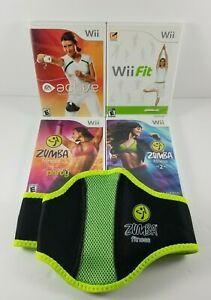 Nintendo-Wii-Exercise-Workout-Bundle-Zumba-Fitness-1-amp-2-w-Belt-Wii-Fit-Active