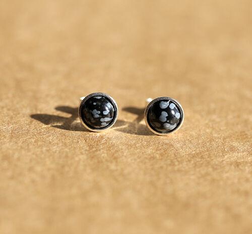Aretes Plata Esterlina 925 con 6mm Piedras preciosas Naturales Obsidiana Copo De Nieve