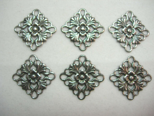 Antiqued Silver Plated Brass Filigree Drops Earring Findings - 6