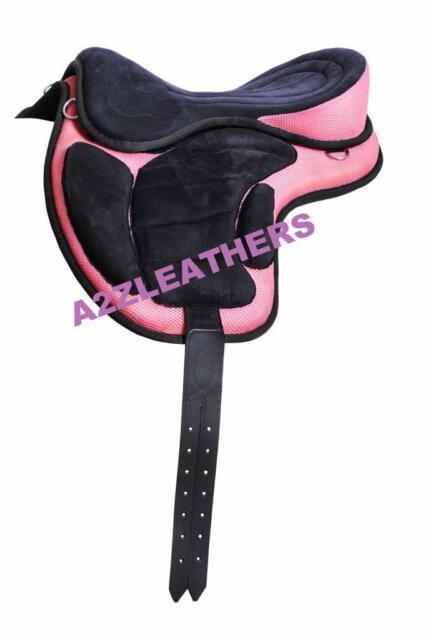 "Treeless Synthetic Saddles Pink/Black 17"" +  Matching Girth"