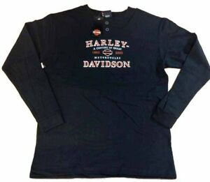 Harley-Davidson-Men-039-s-Black-Long-Sleeve-100th-Anniversary-Henley-shirt-Large