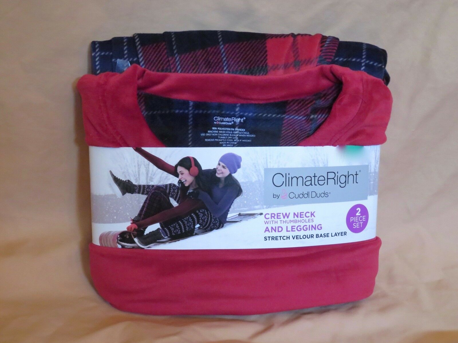 New Women's Climate Right Cuddl Duds Red Long Sleeve Shirt Plaid Leggings Pajama