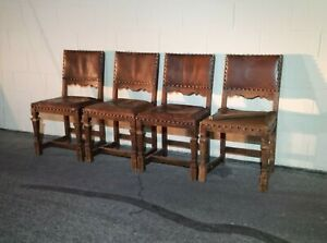 Vintage Spanish Revival Brown Leather Side Chair Dining Set of 4 Wear & Damage