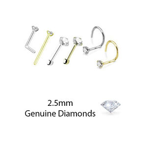 2 5mm Genuine Real Diamond Nose Ring Stud L Bend Screw Yellow Gold