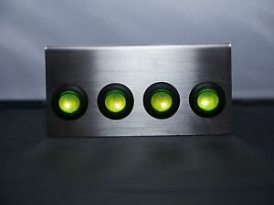 BILLET Green Anodized Plate w// LED toggle switches Green