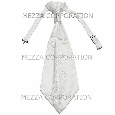 New Vesuvio Napoli Men/'s Polyester Ascot Cravat Necktie Wedding Solid Navy Blue