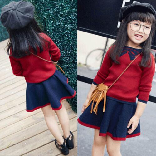 2PCS Kids Children Baby Girl Knitted Sweater Tops+Tutu Skirt Dress Outfits Set