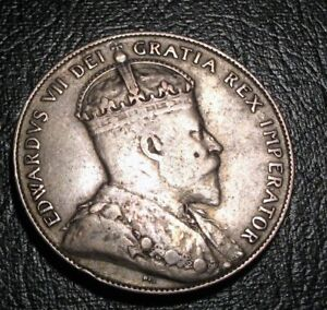 OLD-CANADIAN-COINS-1909-NEWFOUNDLAND-CANADA-FIFTY-CENTS