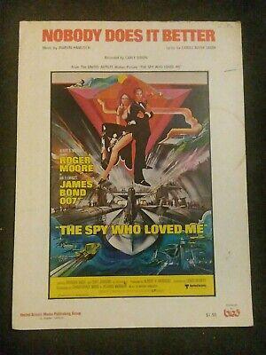 Vintage Sheet Music Nobody Does It Better James Bond 007 ...