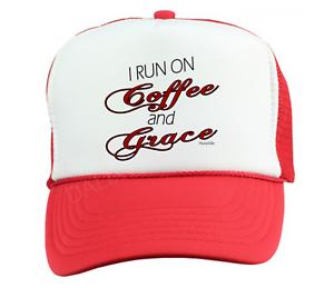 Trucker Hat Cap Foam Mesh Christian Run On Coffee And Grace Jesus b487145ae819