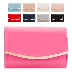 Ladies-Patent-Clutch-Bag-Shiny-Envelope-Evening-Bag-Glossy-Handbag-Purse-KH2216