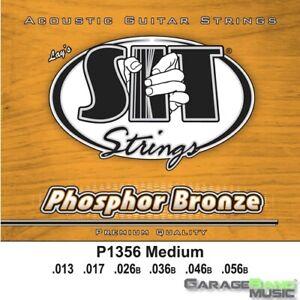 SIT Strings P1356 Phosphor Bronze Acoustic Guitar Strings, Medium, 13-56