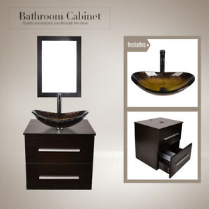best loved 4d649 4c74c Details about 24'' Bathroom Floating Vanity Cabinet Wall Mount Vessel Glass  Oval Sink Bowl Set