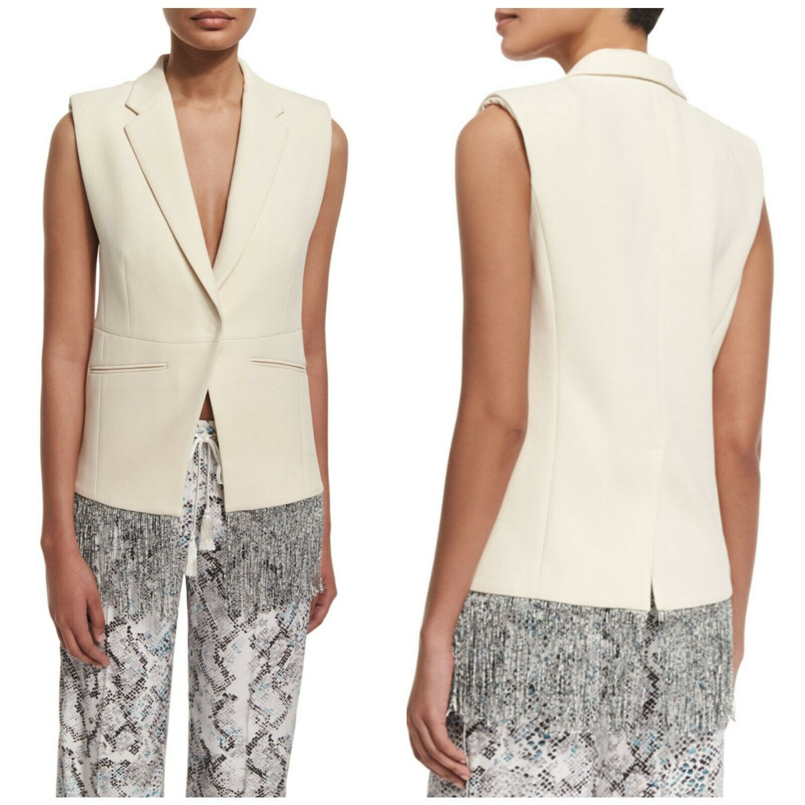 Foundrae Cotton Fringe-Trim Women's Blazer Vest Cream Sz 4 NWT  590 D1
