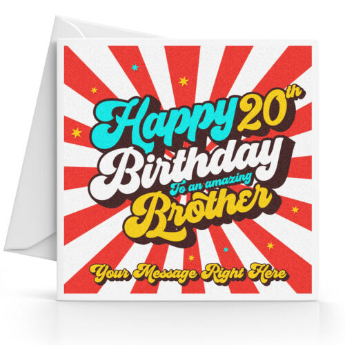 Personalised 20th Birthday Card Male Son Grandson Nephew Brother Any Message