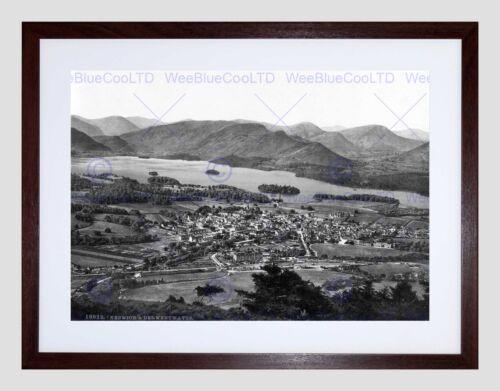 DERWENTWATER AND KESWICK LAKE DISTRICT ENGLAND OLD BW FRAMED ART PRINT B12X2512