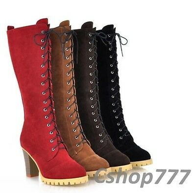 Womens Lace Up Riding Knee High Boots Blocks High Heels Faux Suede Shoes Size 8