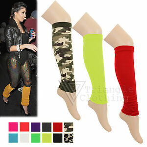 Details About Ladies Luxury Quality Leg Warmers 80s Dance Gym Gear Plain Army Ribbed Yoga