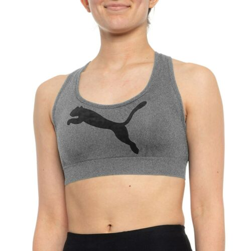 Puma Seamless Sports Bra Womens Crisscross Low Impact Cat Logo Active Stretch