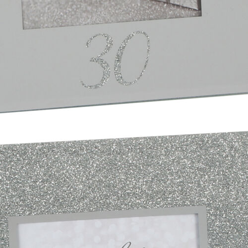 """ARGENT PAILLETTES /& miroir 4/""""x6/"""" Cadre Photo avec numéro-Choisir Design"""
