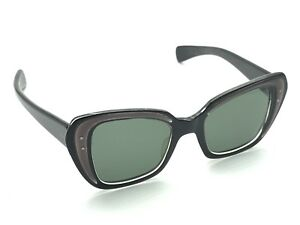 BLACK Retro CATEYE Square VINTAGE Small SUNGLASSES BRITISH COMPANY *