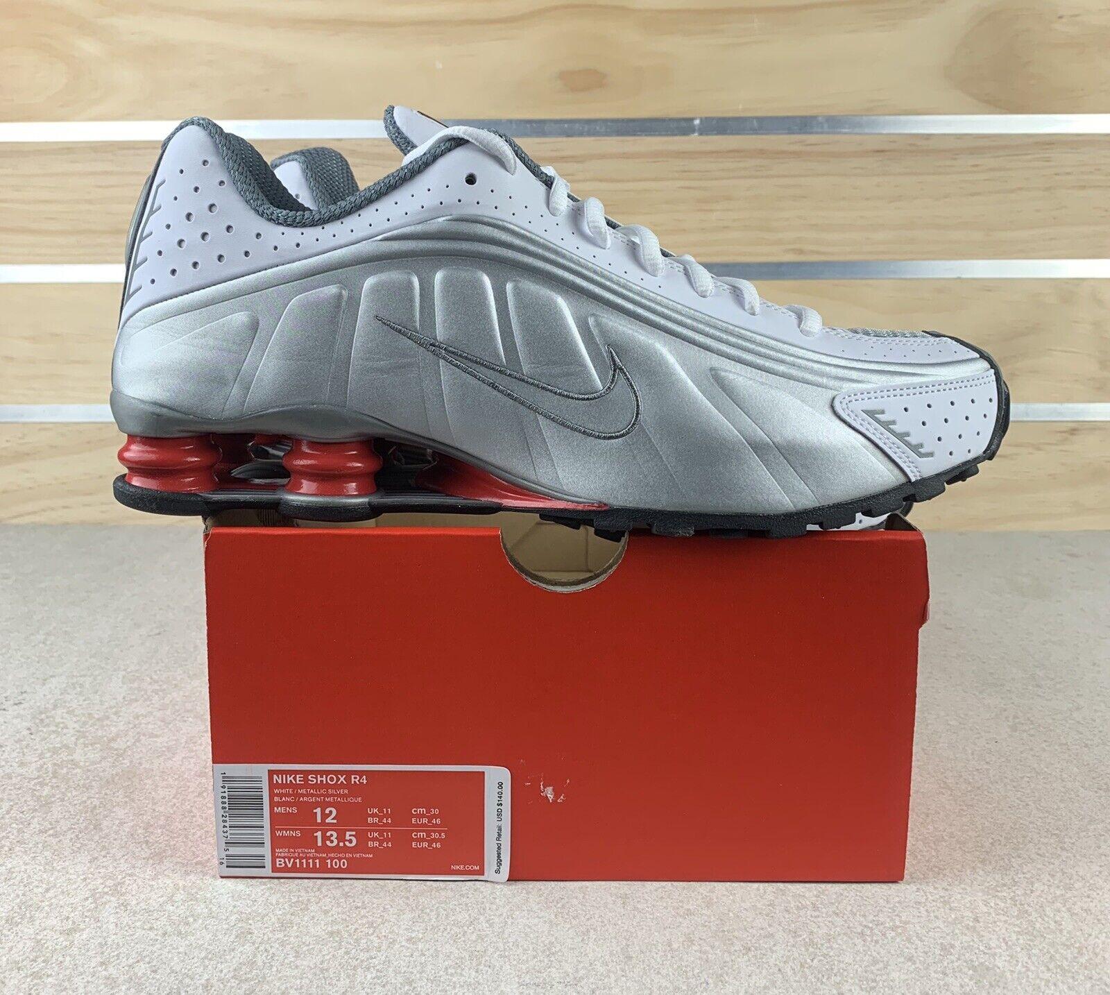 Nike Shox R4 White Metallic Silver Bv1111 100 Mens Size 12