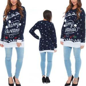 69caae54e0f12 New Ladies Merry Christmas Novelty Midi Tunic jumper Sweater Dress ...