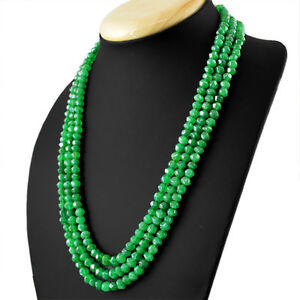 374-00-Cts-Earth-Mined-3-Strand-Green-Emerald-Round-Faceted-Beads-Necklace-RS