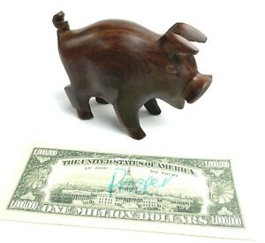 Hand-Carved-Hand-Made-Wood-Hog-Pig-Dark-Wood-Prosperity-Wealth-Abundance