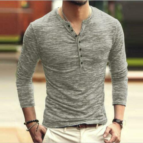 Cotton Long Casual Blouse Sleeve  Mens  Slim Fit V Neck Muscle T-Shirt Tee Tops