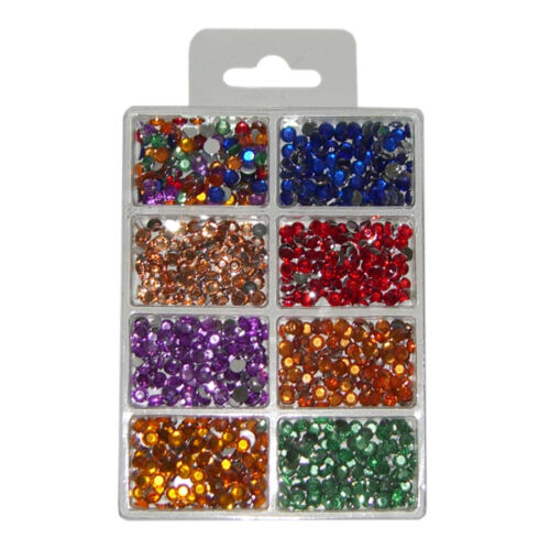 7 Farben Acryl-Strass-Steine Schmucksteine Rund Ø5 mm Packung mit 800 Stück