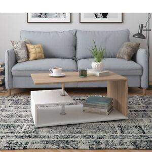 Tavolino-da-Salotto-in-legno-design-Moderno-Bicolore-con-vano-portaoggetti