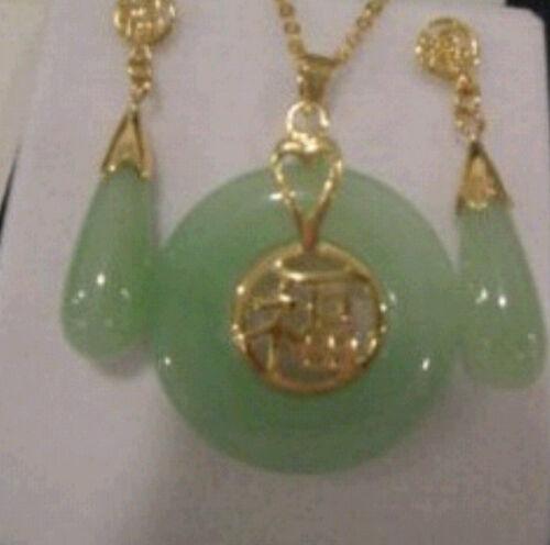 Beautiful Natural Jade Pendant and pair of Earrings Set