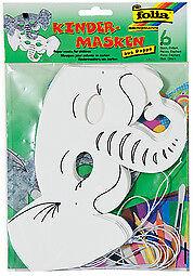 Folia Kindermasken 6 Stück verschiedene Motive zur Auswahl zum bemalen bekleben