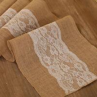 Burlap & Lace Table Runner Rustic Baby Shower Wedding Birthday Decor 72 108''