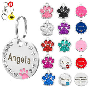 Cute-Glitter-Paw-Round-Personalised-Pet-Tags-Disc-Pet-Dog-Tag-Engraved-for-Free