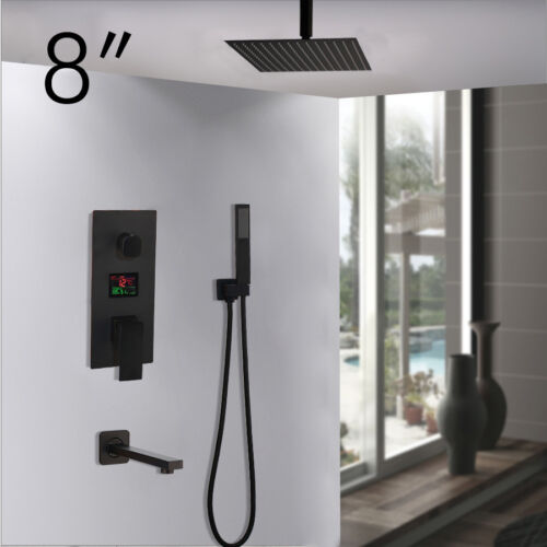 "3 Funtion Digital Valve Black 8/""-16/"" Rain Shower Head Hand Shower Faucet Tub Tap"