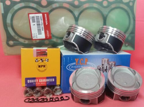 YCP 75.5mm Vitara Teflon Coated Pistons LowComp+ NPRRings+Gasket Honda D16 Turbo