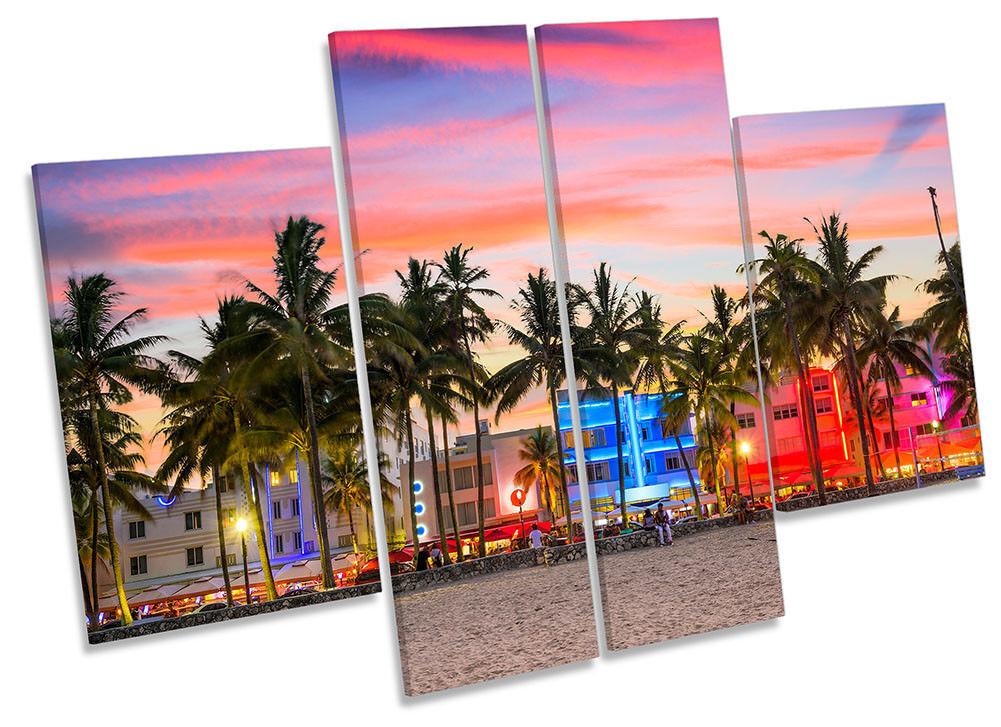 Miami Beach Ocean Drive Framed CANVAS PRINT Four Panel Wall Art