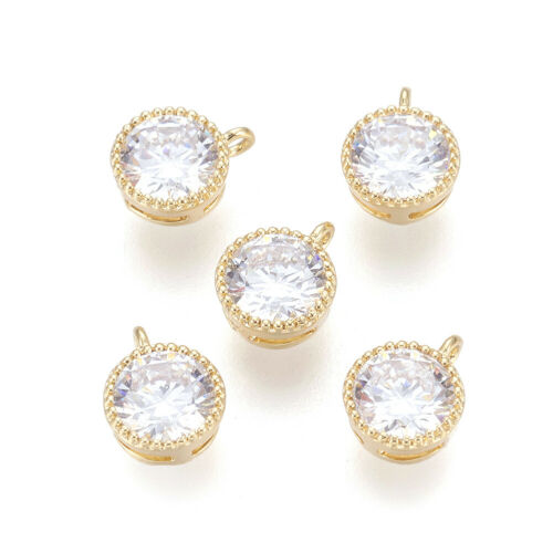 5pcs Brass Cubic Zirconia Charms Round w// Loop Real Gold Plated Mini Pendant 7mm