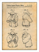 1982 Star Wars - Yoda Patent Print Art Drawing Poster 18x24