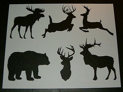 Stencil Wildlife Theme Bear Deer Moose Elk Stencils Signs Pattern