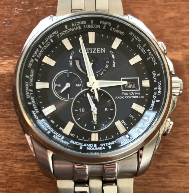 Citizen Eco-Drive World Time Atomic Watch AT9030-80L GN-4W-S