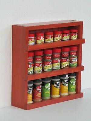 Spice Rack Counter Top or Wall Mount Kitchen Spice Rack - Red Stain | eBay