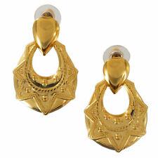 """Vintage 1980s Gold Tone Pierced Earrings Teardrpop Statement Door Knocker 1 5/8"""""""